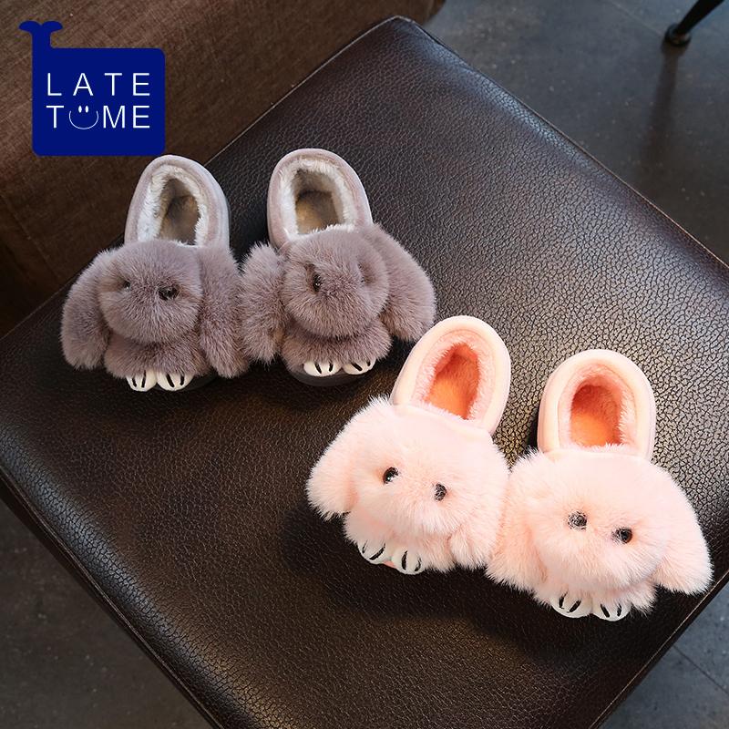卡通可爱宝宝包跟保暖居家防滑棉鞋 冬天新款居家亲子女童棉拖鞋