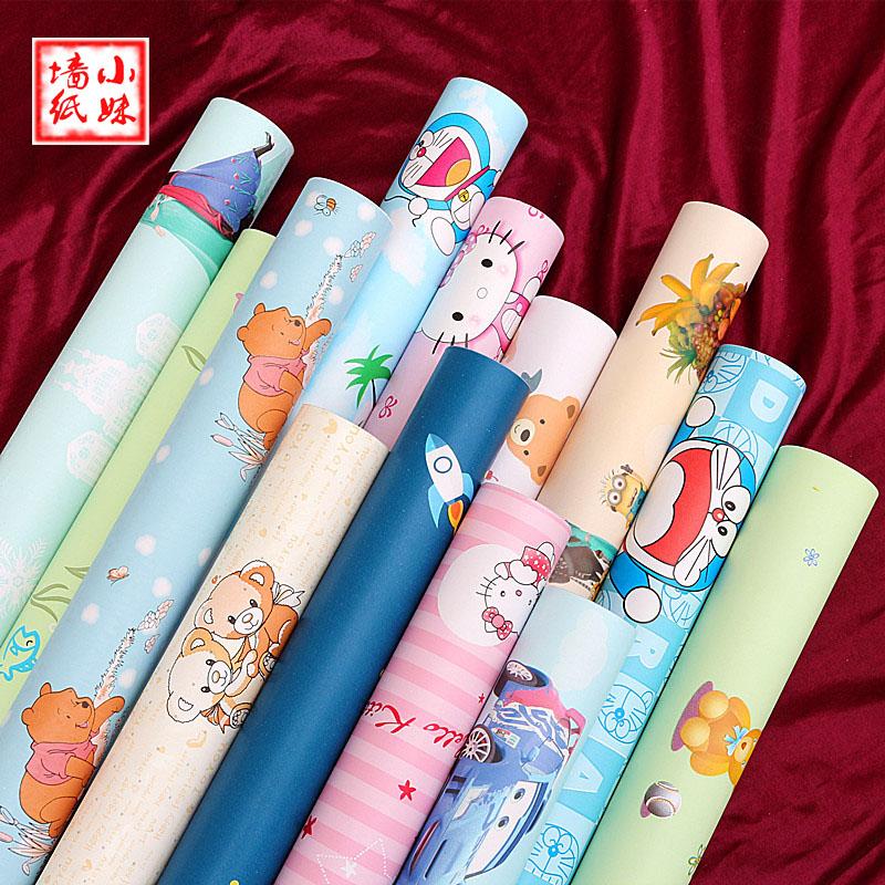 卡通儿童可擦pvc壁纸小孩卧室玩具服装店可爱女孩学生宿舍墙纸