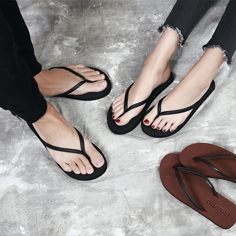 2017新款情侣人字拖女夏防滑平跟时尚外穿凉拖鞋黑色简约沙滩鞋潮