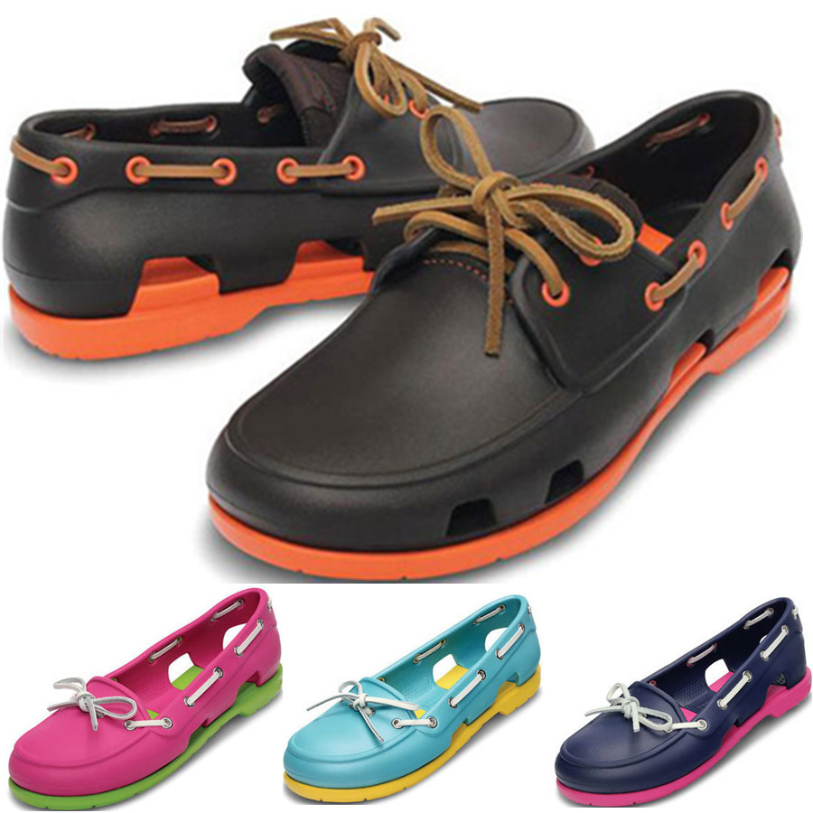 夏季CROSS海灘波特帆船鞋繫帶防滑洞洞鞋情侶沙灘鞋男鞋女鞋涼鞋