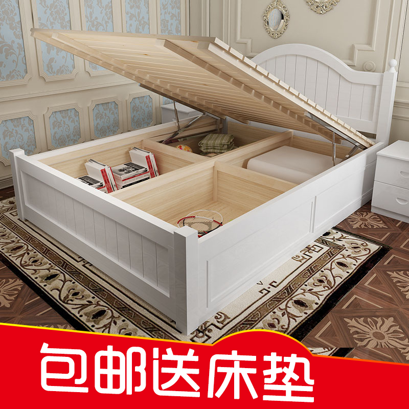 The pure solid oak wooden storage bed 1.5 box 1.8 meters high box double bedroom home style