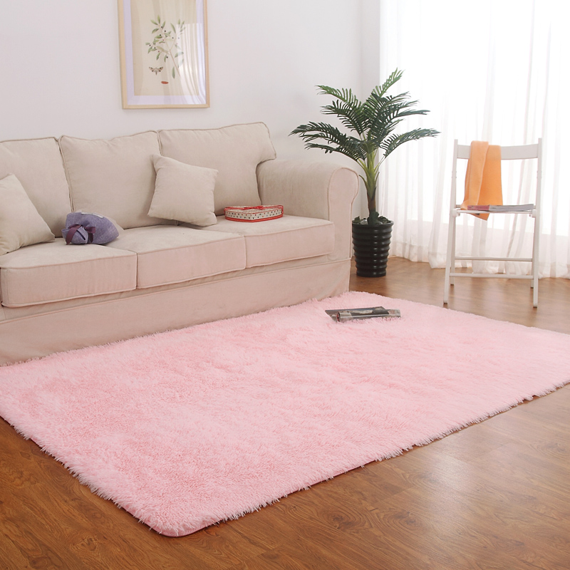The silk wool carpet covered with thick living room table bedroom bedside tatami mat Pink Princess Korean home
