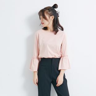 简约新款纯色喇叭袖T恤时尚百搭宽松