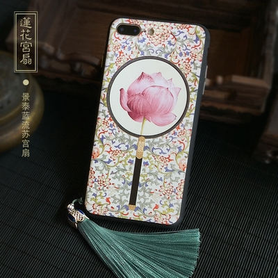Chinese Ancient Phone Cases style lotus palace iphone 678 plusX all-inclusive embossed