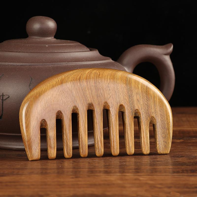 口袋梳绿檀木梳子专用通乳梳小号头部经络梳天然整木宽齿按摩梳