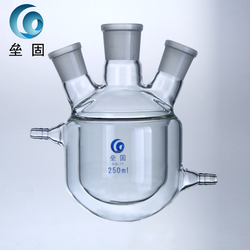 Three jacket jacketed reactor, 3000ml24*24*24 double layer reactor, glass jacketed reaction bottle