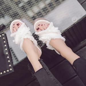 主推女鞋17夏新款时尚复古单鞋子厚底松糕韩版潮鞋凉拖鞋毛毛2718