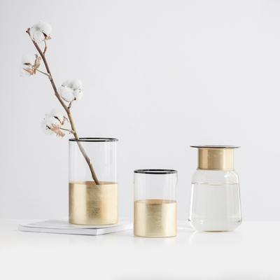 简约北欧风玻璃花瓶手工镀金色花器 家居台面摆件摄影背景