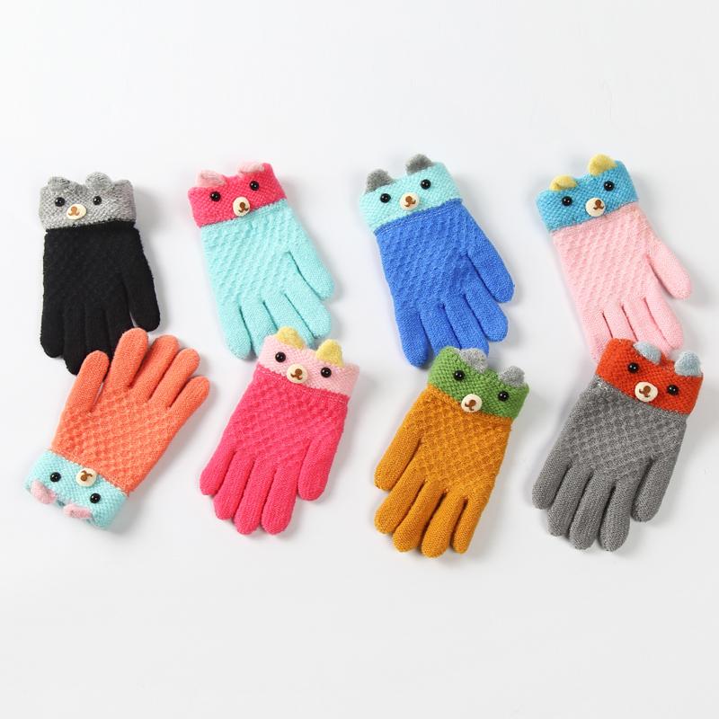 新款儿童手套冬季保暖加厚针织毛线五指分指保暖儿童手套男女童冬