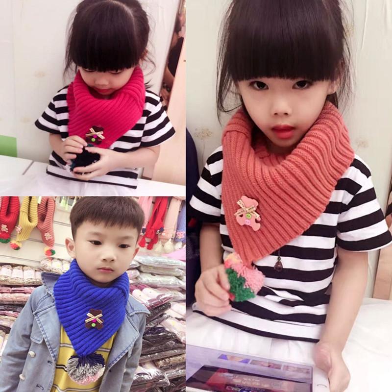 儿童围巾秋冬保暖加厚韩版宝宝小孩毛线套脖男童女童纯色针织围脖