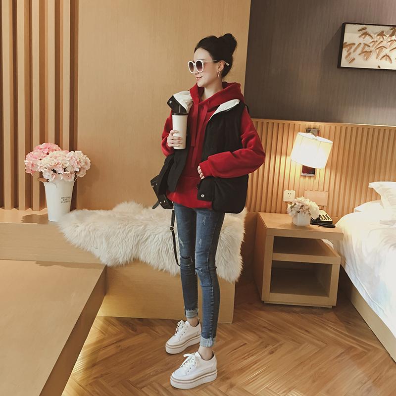 2017鼕裝新款女韓版連帽金絲絨長袖衛衣無袖馬甲時尚休閑兩件套裝