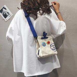 小包包女新款2020夏季帆布单肩斜挎包潮韩版时尚个性少女宽肩带包