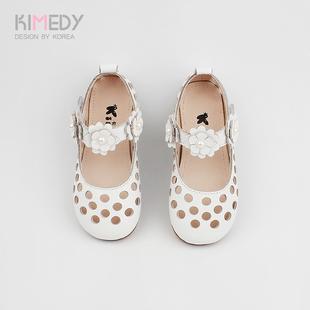 女童凉鞋2018新款真皮韩版夏季公主中大童小孩白色包头软底儿童鞋