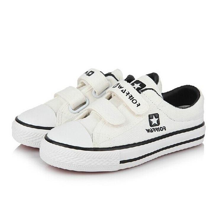 学生白色校鞋回力白鞋儿童601魔术贴男童女童休闲运动鞋搭配校服