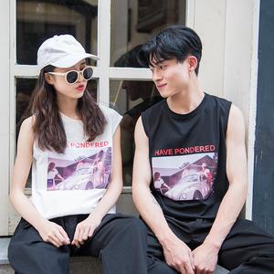 實拍3654#2018夏裝新款韓版情侶裝寬松純棉T恤背心男裝t恤控38元