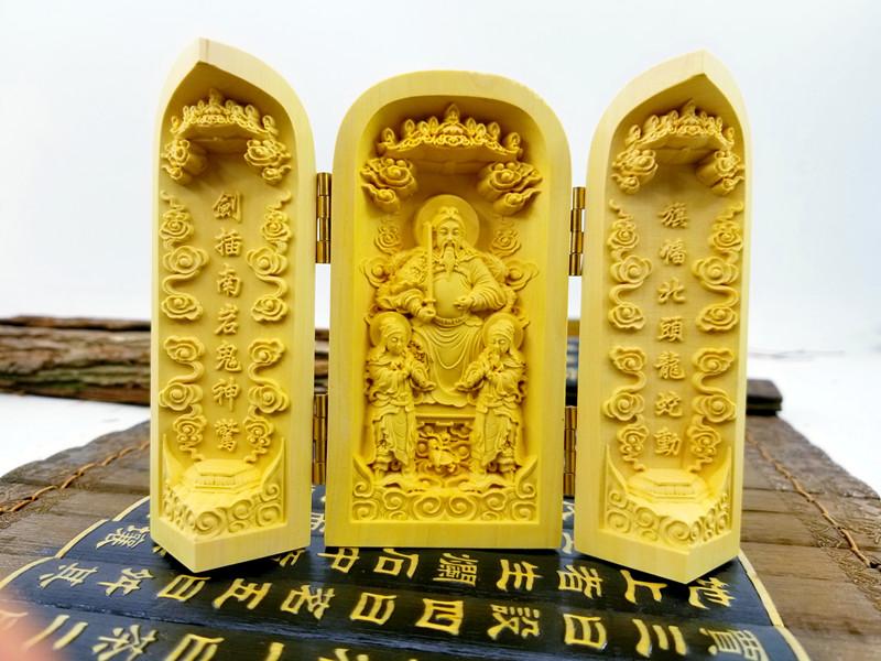 玄天上帝黃楊木精雕三開神像神龕/真武祖師神像佛像結緣用品法物