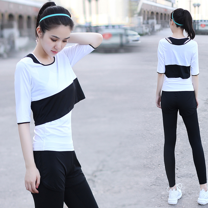 Pu Ti female yoga clothing in autumn and winter of three suits of false two gym running pants sportswear Slimming yoga clothes