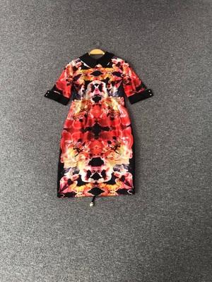 0330夏季名媛气质娃娃领短袖修身黑红黄花连衣裙原单