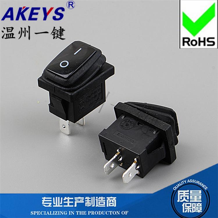 방수 선형 스위치 버튼 스위치 KCD1-106-2P 二档 2 발 검은색 시소 6A 전원 스위치