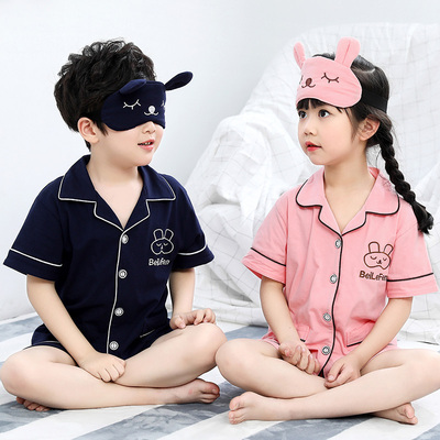 Children's Pajamas girls thin section boy summer cotton home service child baby short sleeve suit air conditioning suit