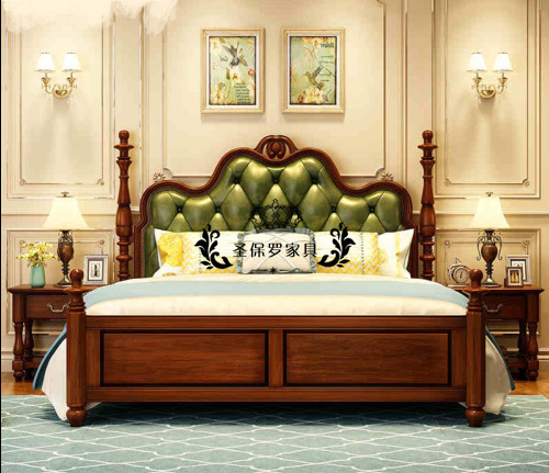 Solid wood carved bed soft bed Jane European style retro French neo classical furniture trade to do the old bed Jane