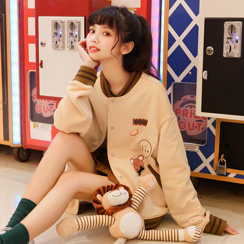 Đồ bóng chày/Áo khoác nữ cổ đứng mốt mới mùa xuân phong cách học sinh trẻ trung kiểu dáng rộng rãi
