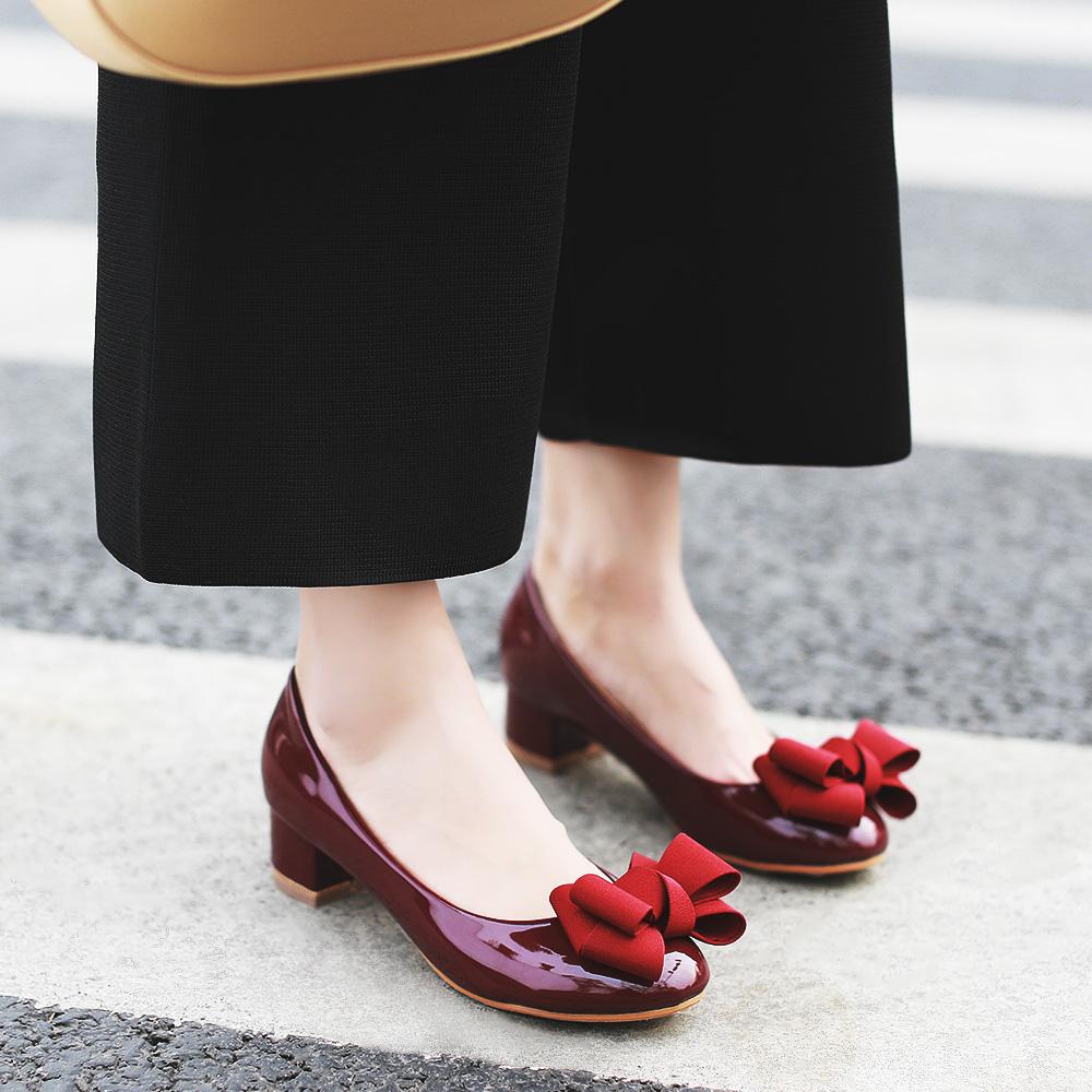 黑色35小p良品鋪 歐美時尚淺口粗跟圓頭單鞋秋冬新款蝴蝶結女鞋子