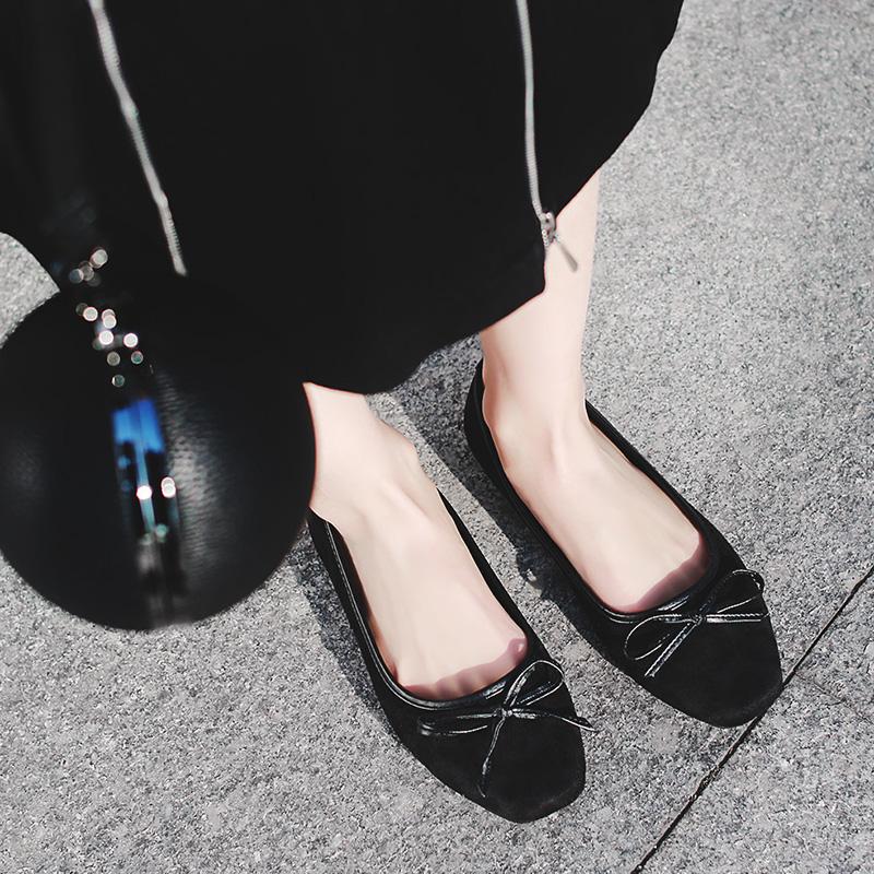 黑色豹紋35小p良品鋪 新款方頭甜美蝴蝶結單鞋淺口純色百搭平底鞋女鞋子