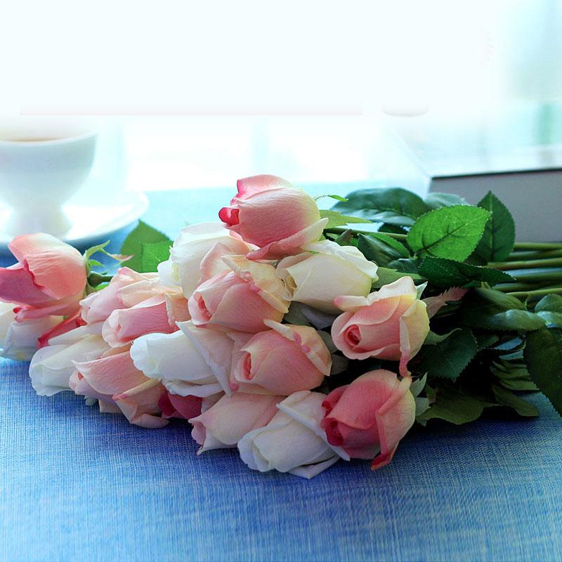 玫紅色(一支一朵價)10支裝手感仿真玫瑰花蕾花苞婚慶假花絹花藝家居裝飾客廳擺設