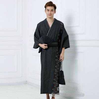 日式浴袍秋冬款 双层领秋冬和服纯棉 中长款秋冬和服 男 品质浴衣