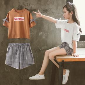 女童夏装套装2018新款洋气套装韩版潮衣中大儿童装短裤运动两件套