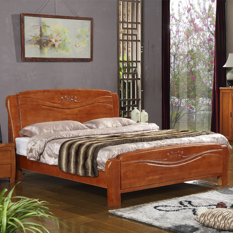 Modern Chinese solid wood bed, 1.8 meters double bed storage high box oak bed 1.5m send high grade pine bed board
