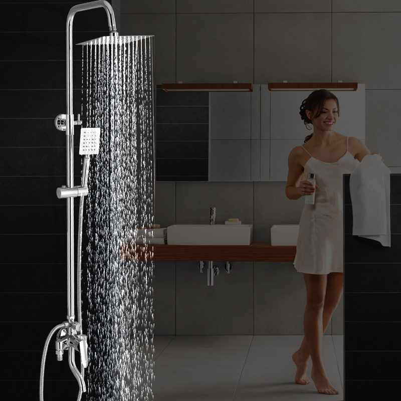 All copper with the leading water hot and cold shower shower set down the bathroom faucet mixed mixing valve