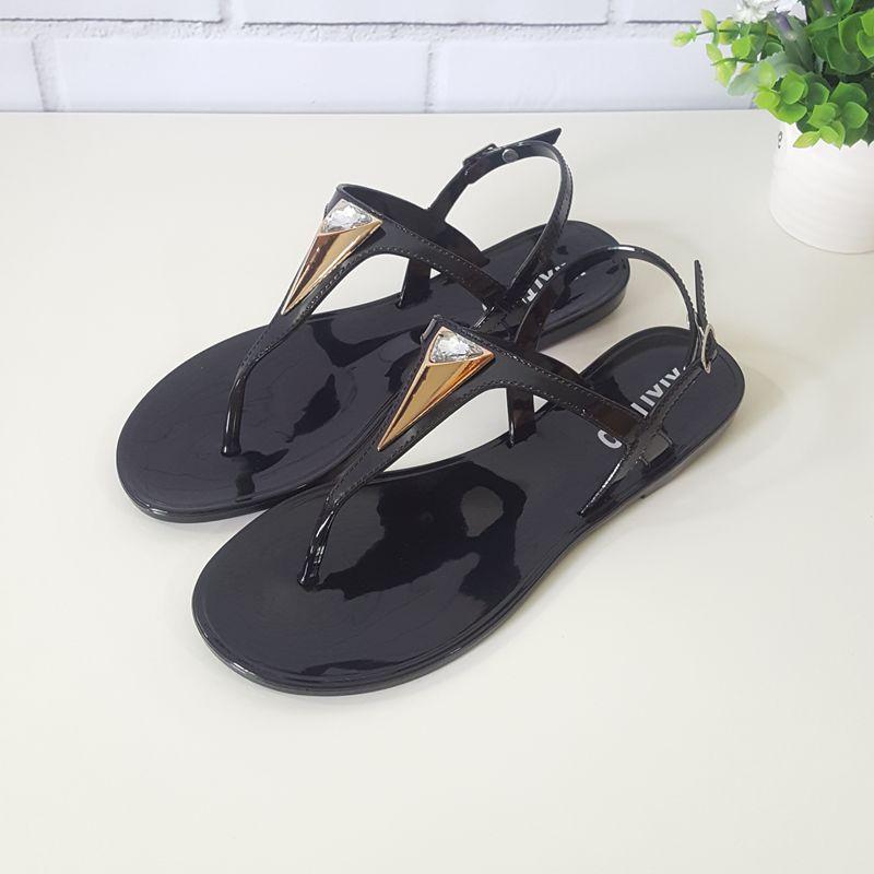 歐美水鑽涼鞋女2017新款夏天簡約時尚防滑平底夾腳沙灘鞋夾趾涼鞋