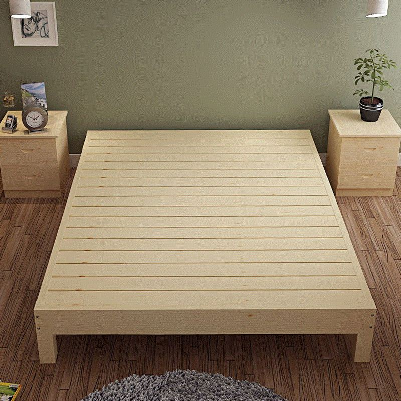No custom simple modern minimalist pine wood bed frame single bed tatami bed 1.51.8