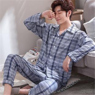 男士睡衣长袖纯棉春秋季开衫睡衣男加大码中年家居服套装男款青年