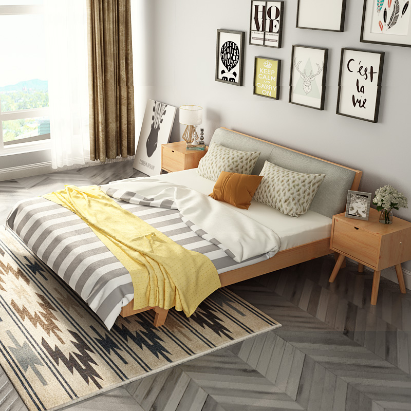 A lemon modern minimalist master bedroom, solid wood bed double bed, 1.51.8 meters, Nordic economy single bed