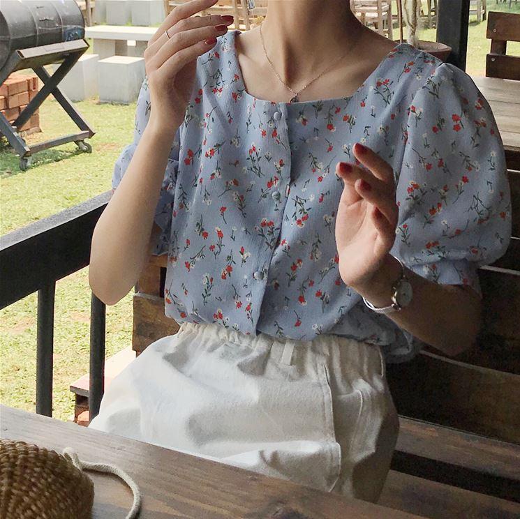 现货元气少女小清新甜美温柔风方领泡泡袖小碎花衬衫2791#