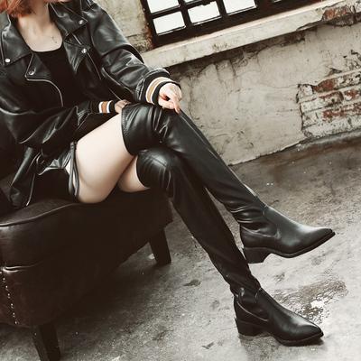 过膝长靴女冬季中跟尖头粗跟瘦腿弹力靴性感百搭黑色高筒长筒靴