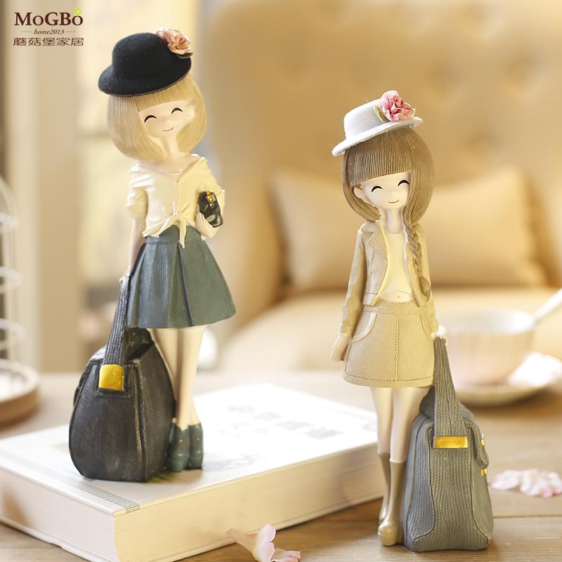 一個人的精彩(a061a) 少女擺件歐式創意家居禮品可愛姑娘擺飾樹脂彩繪雕刻少女提包裝飾擺件