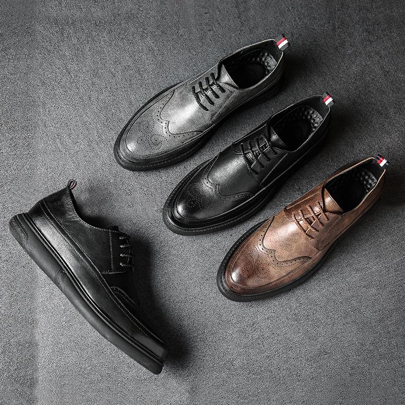 秋季布洛克款式男鞋雕花复古英伦圆头韩版潮鞋加绒男士休闲皮鞋男