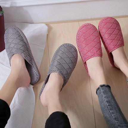春秋季轻便情侣薄款四季透气男女居家布艺客人家用防滑冬季棉拖鞋