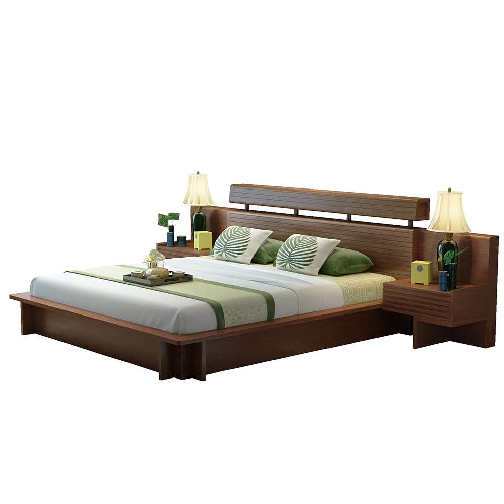 Willow wood bed Southeast Asian style furniture tatami bed 1.8 meters double bed of new Chinese style