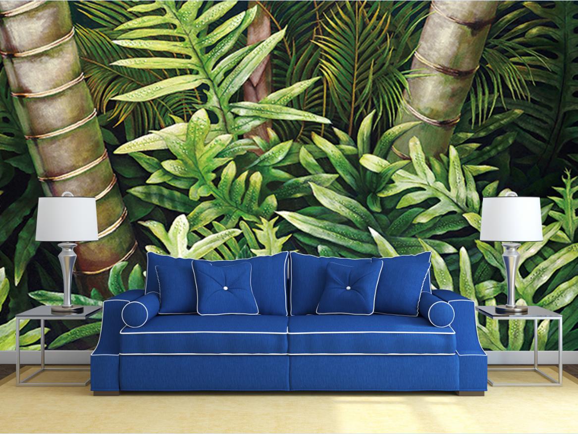 整張無縫壁畫-真絲電視背景墻5d熱帶植物芭蕉葉森林墻紙客廳酒店電視背景墻壁紙壁畫