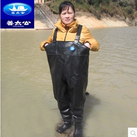 Jiangtaigong fishing fishing pants waterproof pant pant conjoined raincoat rain pants boots waterproof clothing male wading fishing pants