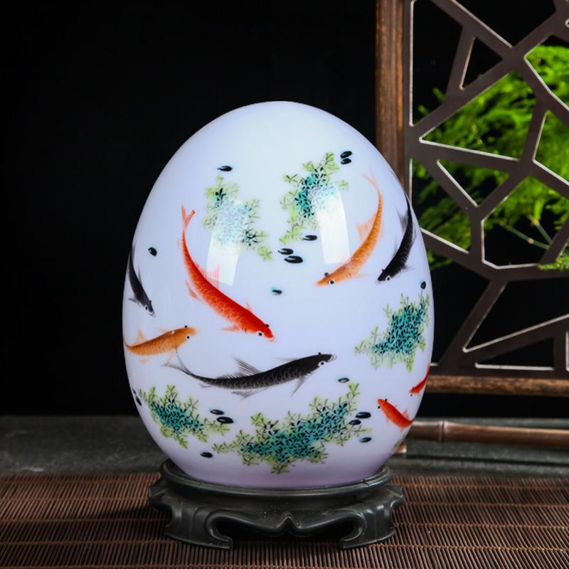 福壽圖景德鎮陶瓷器 粉彩薄胎富貴蛋吉祥蛋 現代時尚家居工藝品裝飾擺件