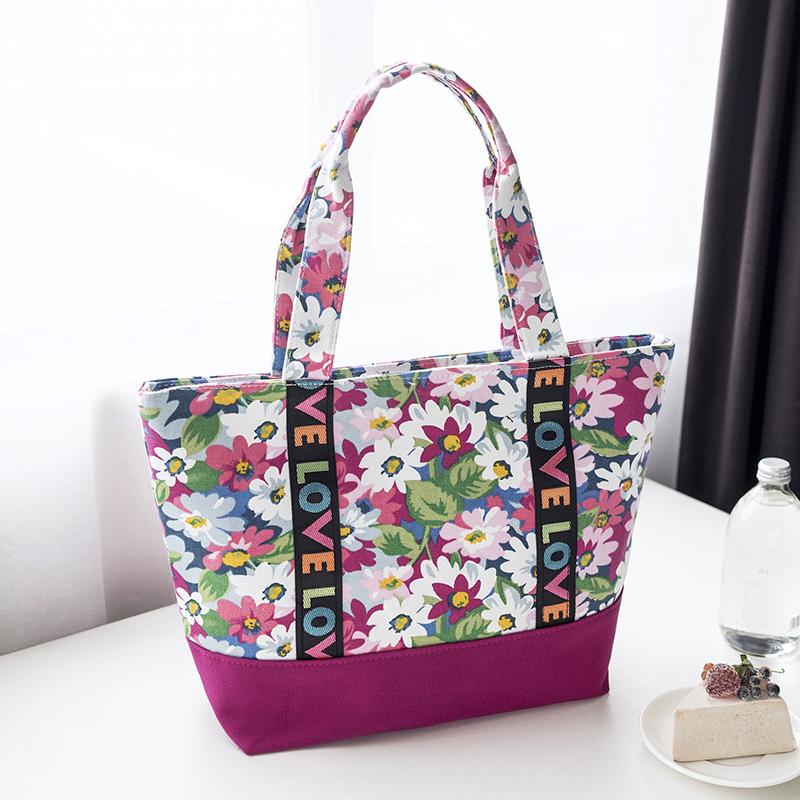 2018春夏韩版新款花朵帆布女包单肩百搭欧美时尚手提大包包女士包