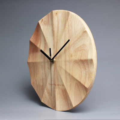 Wall Clock Simple solid wood living room creative modern clocks home bedroom Nordic clock