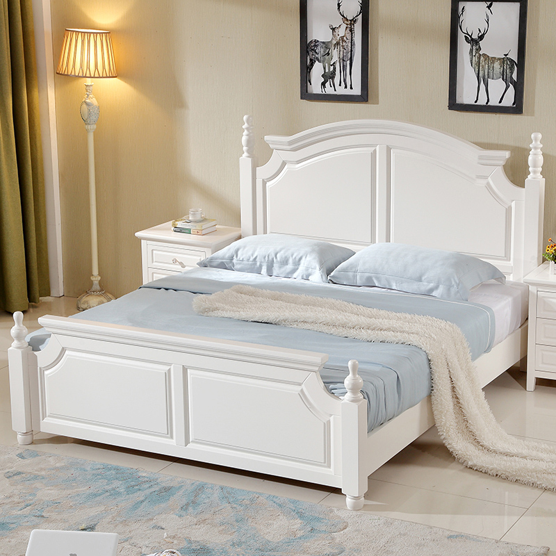 All American solid wood furniture master bedroom post bed double bed new classic wedding bed white box high pressure grinding