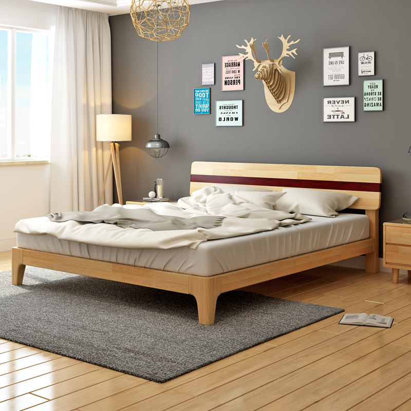 The real modern minimalist 1.5 wooden semio m 1.8 bedroom double bed on soft wood furniture